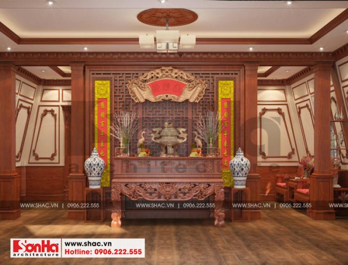 Phương án thiết kế nội thất phòng thờ của biệt thự 3 tầng tại Cần Thơ