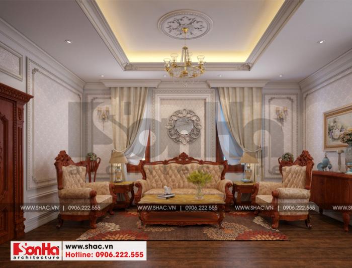Mẫu thiết kế nội thất phòng sinh hoạt chung của biệt thự 3 tầng cổ điển đẹp