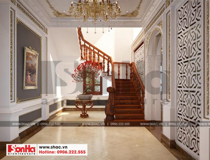 Phương án thiết kế sảnh khách sạn đẹp mắt của biệt thự cổ điển pháp 3 tầng