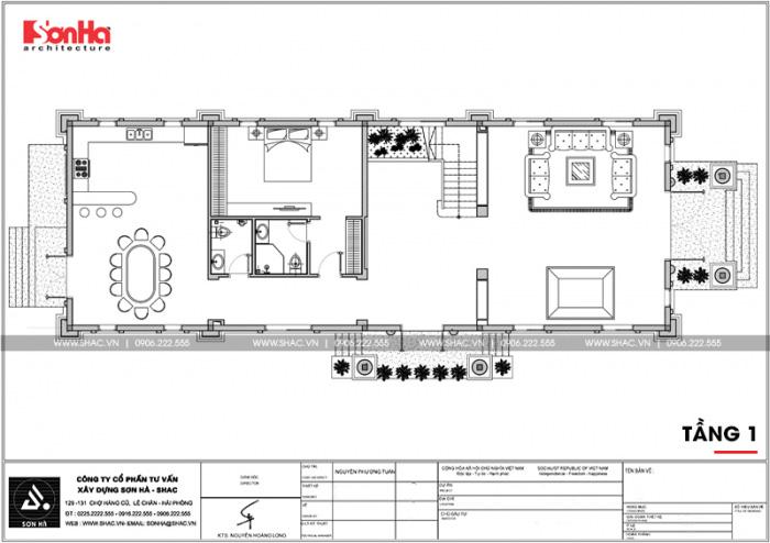 Bản vẽ mặt bằng công năng tầng 1 biệt thự cổ điển đẹp 3 tầng tại Cần Thơ