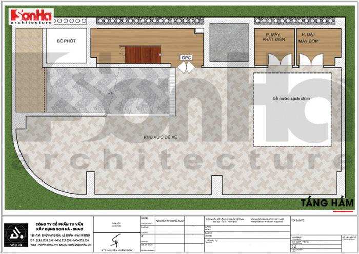 Mặt bằng công năng tầng hầm khách sạn tân cổ điển 3 sao kết hợp căn hộ cho thuê