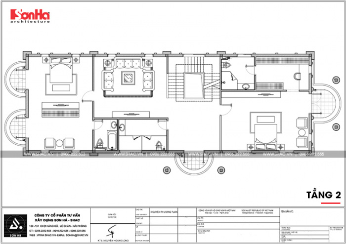 Bản vẽ mặt bằng công năng tầng 2 biệt thự cổ điển Pháp 3 tầng tại Cần Thơ