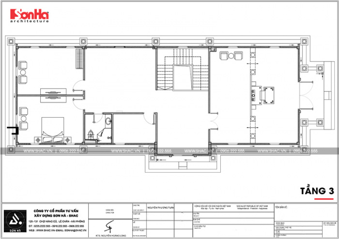 Bản vẽ mặt bằng công năng tầng 3 biệt thự cổ điển đẹp 3 tầng tại Cần Thơ