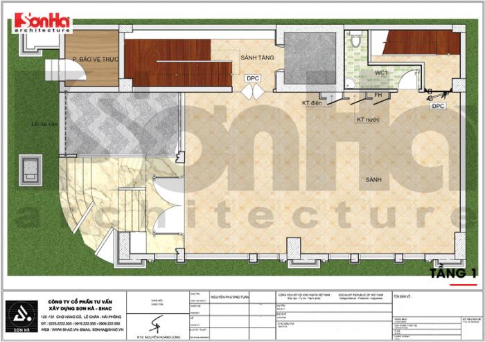 Mặt bằng công năng tầng 1 khách sạn tân cổ điển 3 sao kết hợp căn hộ cho thuê