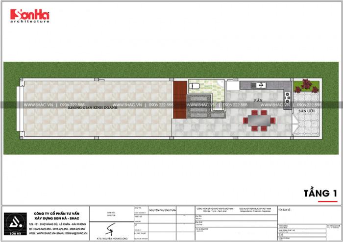 Bản vẽ mặt bằng công năng tầng 1 nhà ống diện tích 100m2 tại Hải Phòng