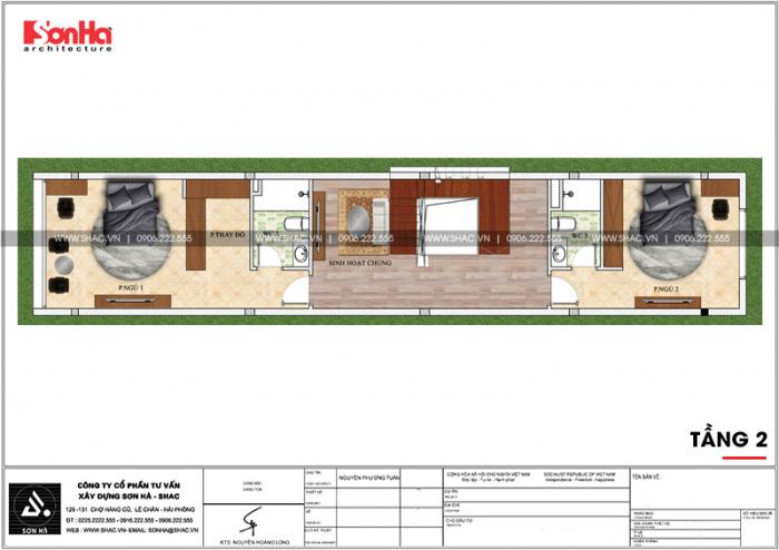 Bản vẽ mặt bằng công năng tầng 2 nhà ống diện tích 100m2 tại Hải Phòng