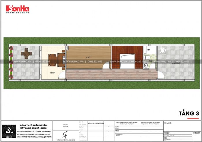 Bản vẽ mặt bằng công năng tầng 3 nhà ống diện tích 100m2 tại Hải Phòng