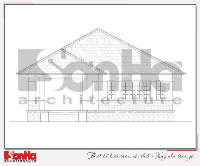 Bản vẽ mặt đứng biệt thự mini mái thái 1 tầng tại Quảng Ninh