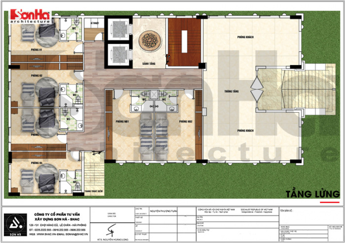 Mặt bằng công năng tầng lửng khách sạn tân cổ điển tiêu chuẩn 3 sao tại Vĩnh Phúc