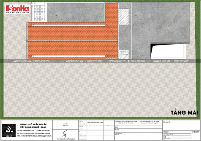 Bản vẽ mặt bằng công năng tầng mái nhà phố 3 tầng tân cổ điển tại Ninh Bình