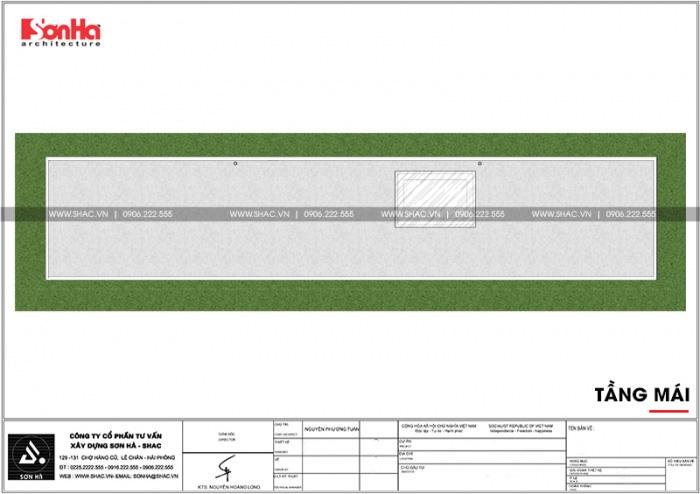 Bản vẽ mặt bằng công năng tầng mái nhà ống diện tích 100m2 tại Hải Phòng