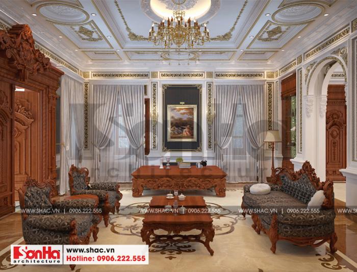 Thiết kế nội thất phòng khách biệt thự cổ điển đẹp gần 300m2 tại Cần Thơ