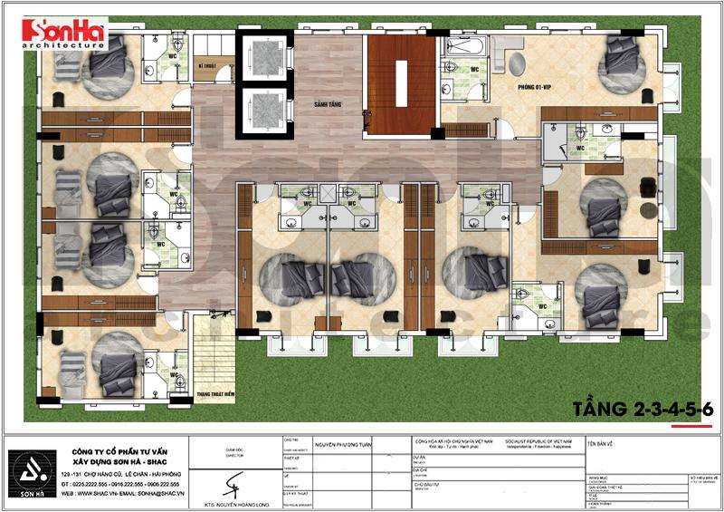 Thiết kế khách sạn tân cổ điển 3 sao 7 tầng 408m2 tại Vĩnh Phúc – SH KS 0057 7