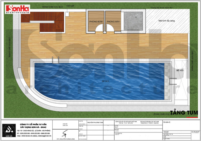 Mặt bằng công năng tầng tum khách sạn tân cổ điển 3 sao kết hợp căn hộ cho thuê
