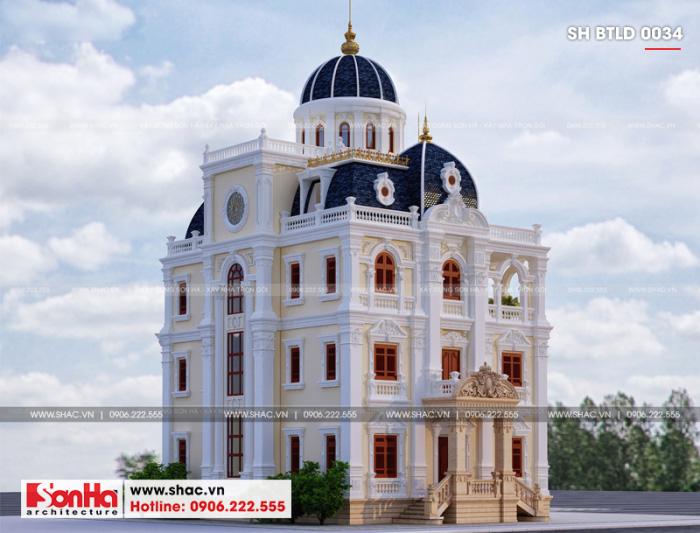 Đây là phương án thiết kế mặt bên của biệt thự lâu đài châu Âu 185m2 tại Hải Dương