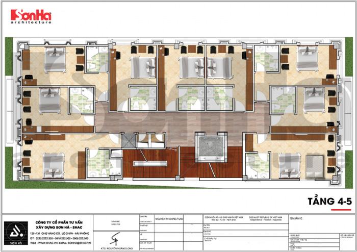 Mặt bằng công năng tầng 4 và 5 khách sạn 3 sao tân cổ điển đẹp tại Hải Phòng