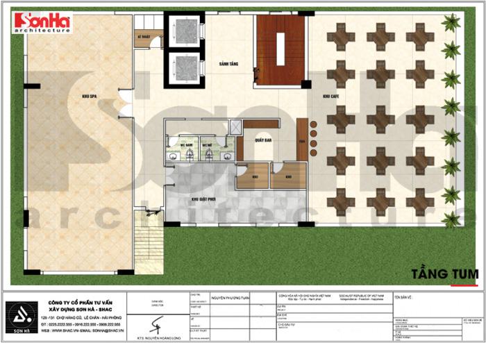 Mặt bằng công năng tầng tum khách sạn tân cổ điển 3 sao tại Vĩnh Phúc