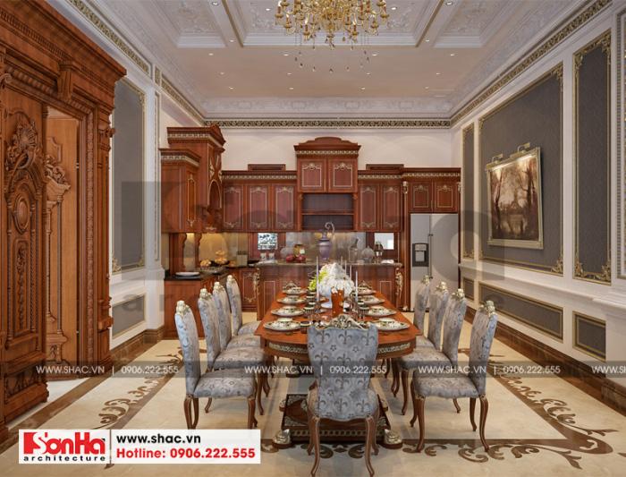 Mẫu nội thất phòng bếp ăn biệt thự cổ điển Pháp tại Cần Thơ 3 tầng tiện nghi