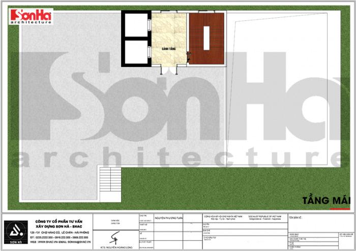 Mặt bằng công năng tầng mái khách sạn tân cổ điển 3 sao tại Vĩnh Phúc