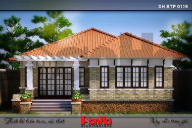 BÌA mẫu kiến trúc biệt thự mái thái 1 tầng tại quảng ninh sh btp 0119
