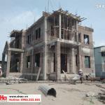 1 Ảnh thực tế thi công biệt thự mái thái 3 tầng tại hưng yên sh btp 0122