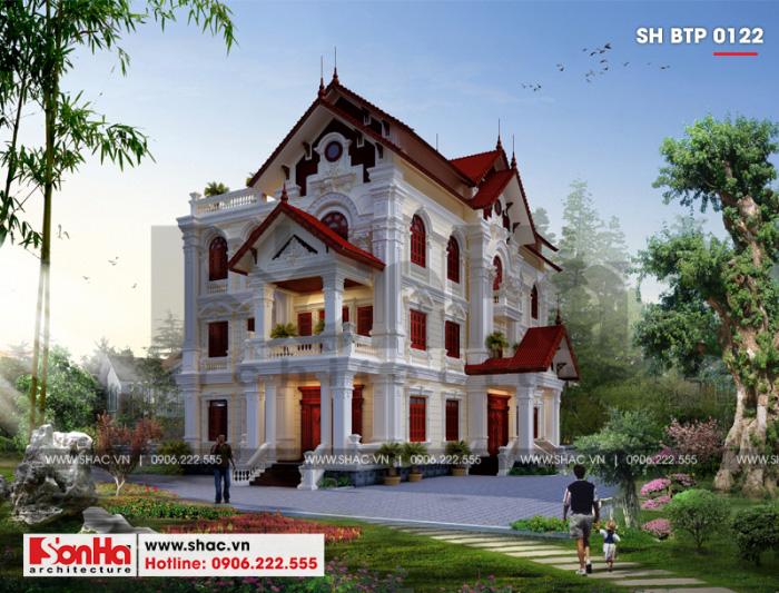 Mẫu thiết kế biệt thự sân vườn kiến trúc Pháp 2 mặt tiền 13,1×24,1m tại Hưng Yên