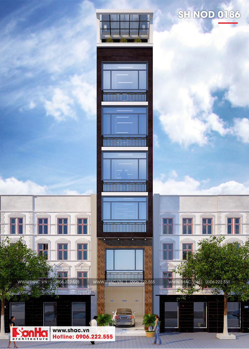 Thiết kế nhà phố hiện đại mặt tiền 4m 7 tầng tại Hà Nội – SH NOD 0186 1