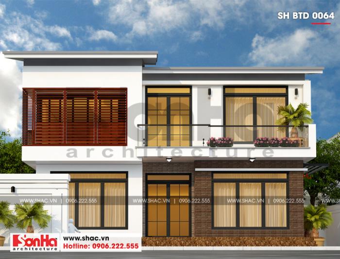 Ngôi biệt thự mini 2 tầng mái thái gây ấn tượng với mặt tiền ốp vật liệu đẹp mắt