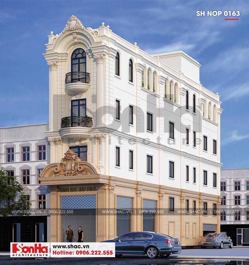 Mẫu mặt tiền 5m kiểu Pháp cổ điển đẹp của ngôi nhà phố kết hợp kinh doanh
