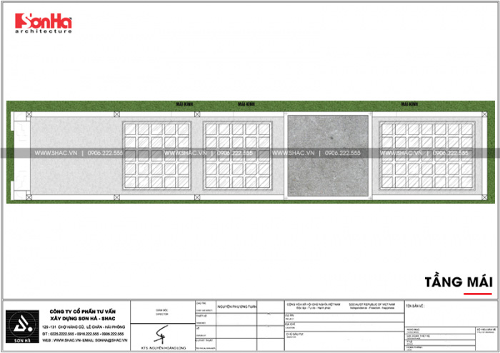 Bản vẽ mặt bằng công năng tầng mái nhà ống kiến trúc Pháp 5x26m tại Vĩnh Phúc