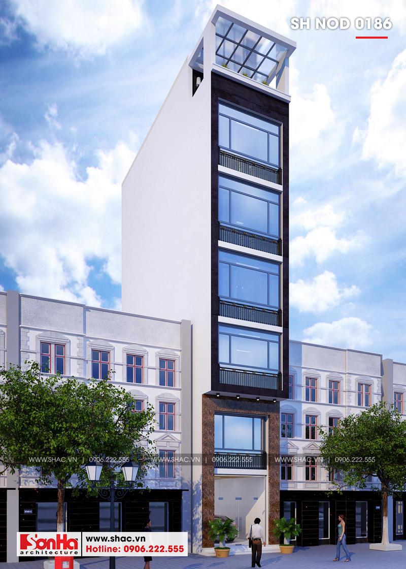Thiết kế nhà phố hiện đại mặt tiền 4m 7 tầng tại Hà Nội – SH NOD 0186 2