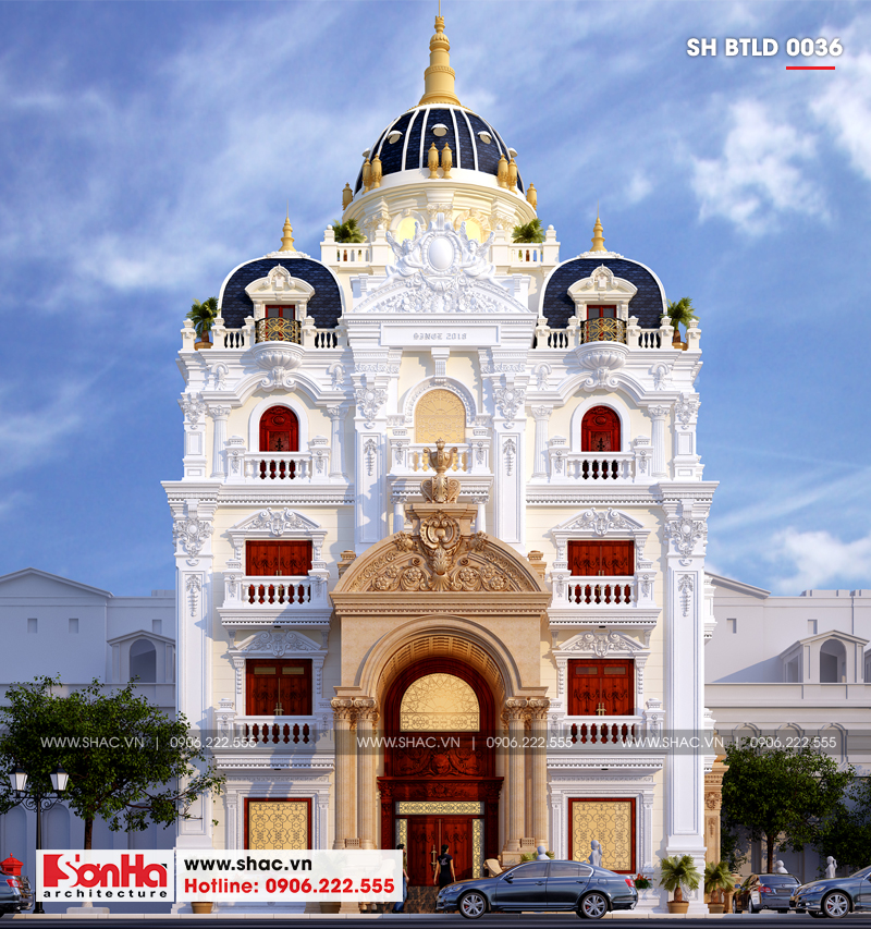 Kiến trúc sang trọng xa hoa của mẫu thiết kế biệt thự lâu đài 4 tầng tại Lạng Sơn