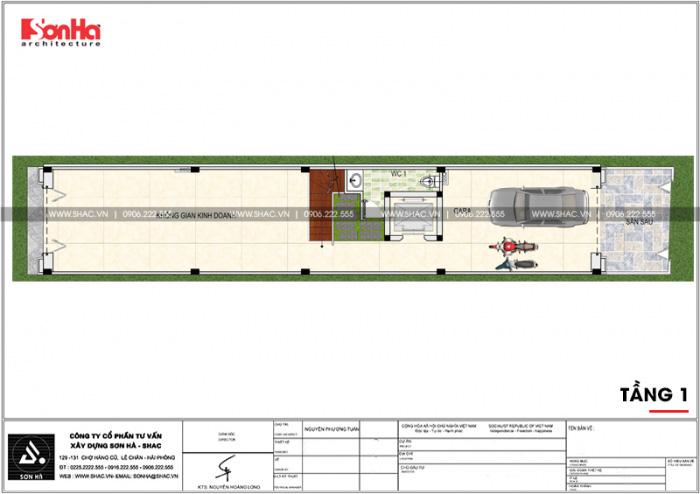 Bố trí công năng tầng 1 nhà phố 4 tầng kiểu Pháp có thiết kế gara ô tô tại Sài Gòn