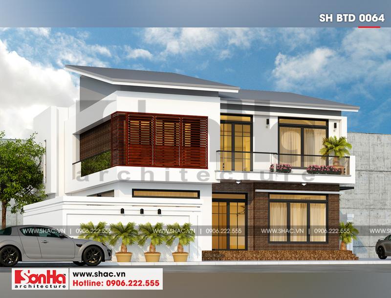 Mẫu thiết kế biệt thự hiện đại 2 tầng mái thái tiện nghi mang lại sự tiện nghi
