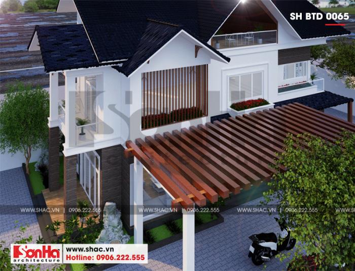 Thiết kế biệt thự mái thái 3 tầng kiến trúc hiện đại diện tích 120m2 tại Hải Phòng
