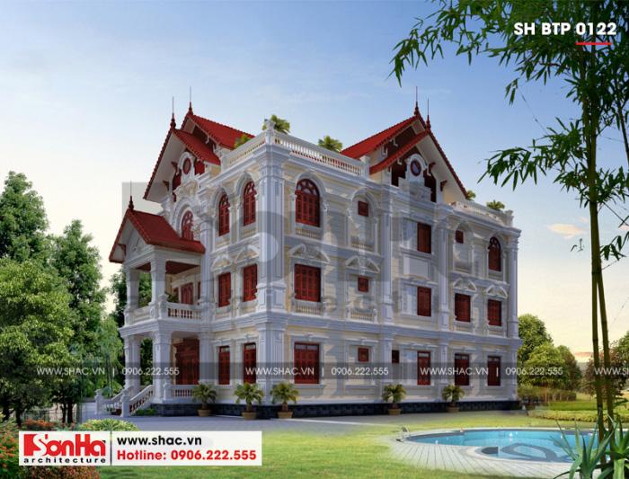 Phương án thiết kế biệt thự tân cổ điển có bể bơi và sân vườn đẹp như mơ