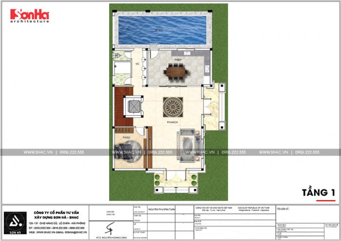 Bản vẽ mặt bằng công năng tầng 1 biệt thự kiểu pháp có hồ bơi tại Hải Phòng