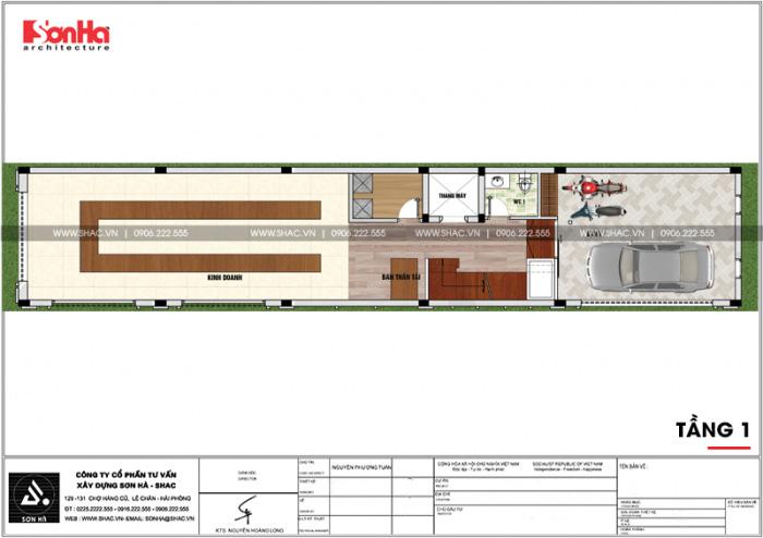 Bản vẽ mặt bằng công năng tầng 1 nhà ống kiến trúc Pháp 5x26m tại Vĩnh Phúc