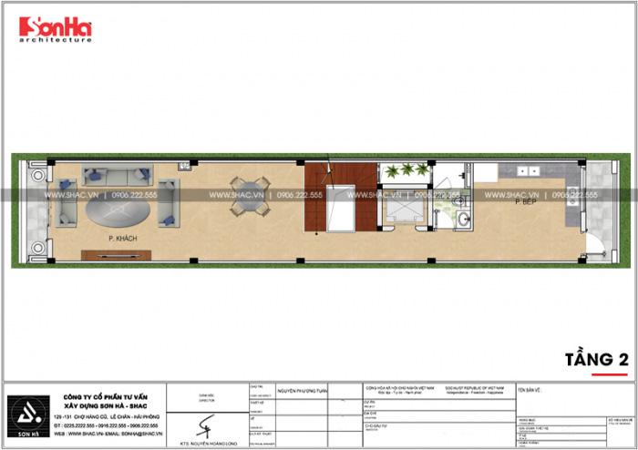 Bố trí công năng tầng 2 nhà phố 4 tầng kiểu Pháp có thiết kế gara ô tô tại Sài Gòn