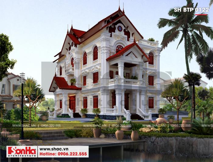 Mẫu biệt thự Pháp 3 tầng mái thái tại Hưng Yên với nét đẹp sang trọng cuốn hút