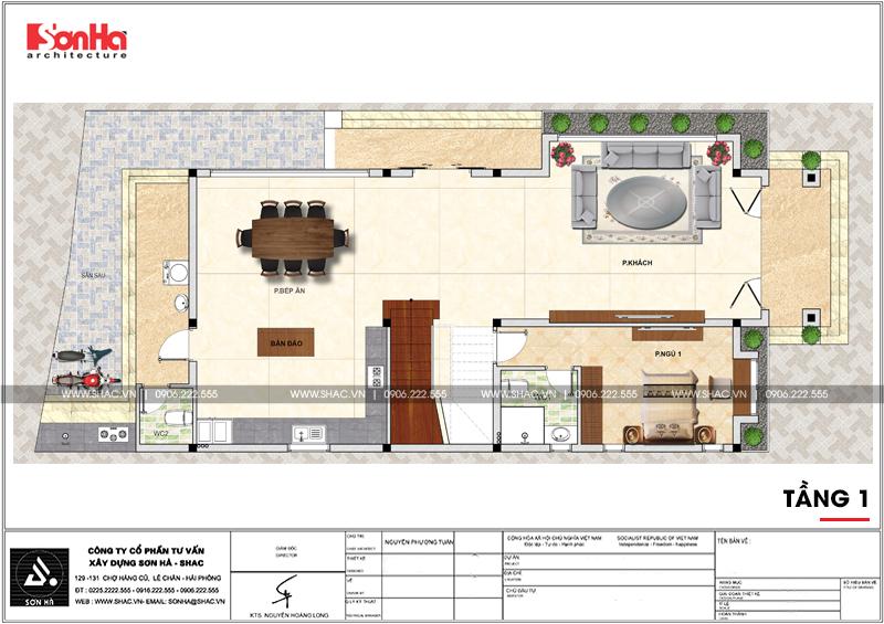 Tầng 1 gồm phòng khách bếp ngủ