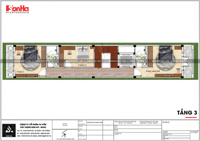 Bố trí công năng tầng 3 nhà phố 4 tầng kiểu Pháp có thiết kế gara ô tô tại Sài Gòn