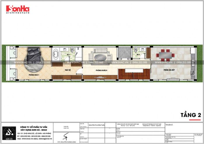 Bản vẽ mặt bằng công năng tầng 2 ngôi nhà ống đẹp mặt tiền 5m kiểu Pháp