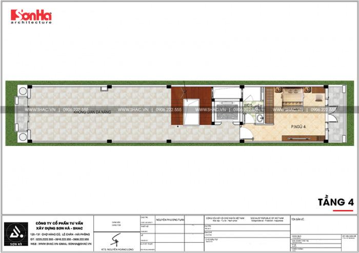 Bố trí công năng tầng 4 nhà phố 4 tầng kiểu Pháp có thiết kế gara ô tô tại Sài Gòn