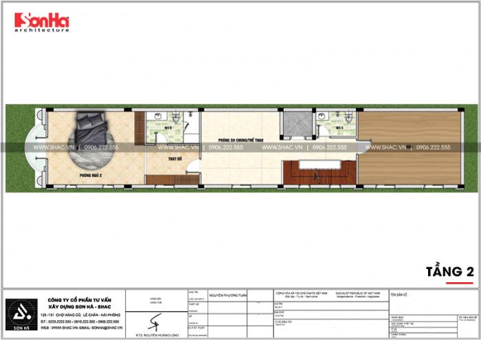 Bản vẽ mặt bằng công năng tầng 3 ngôi nhà ống đẹp mặt tiền 5m kiểu Pháp