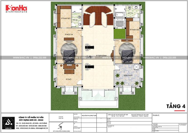 Biệt thự lâu đài 2 mặt tiền 4 tầng 15,44x15m tại Lạng Sơn – SH BTLD 0036 7