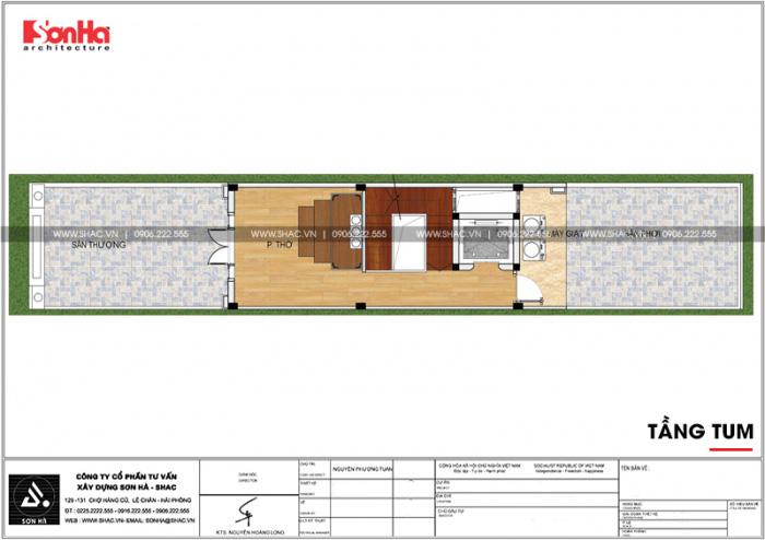 Bố trí công năng tầng tum nhà phố 4 tầng kiểu Pháp có thiết kế gara ô tô tại Sài Gòn