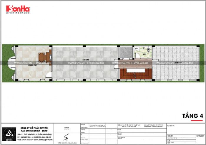 Bản vẽ mặt bằng công năng tầng 4 nhà ống kiến trúc Pháp 5x26m tại Vĩnh Phúc