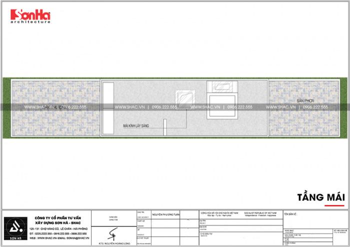 Bố trí công năng tầng mái nhà phố 4 tầng kiểu Pháp có thiết kế gara ô tô tại Sài Gòn