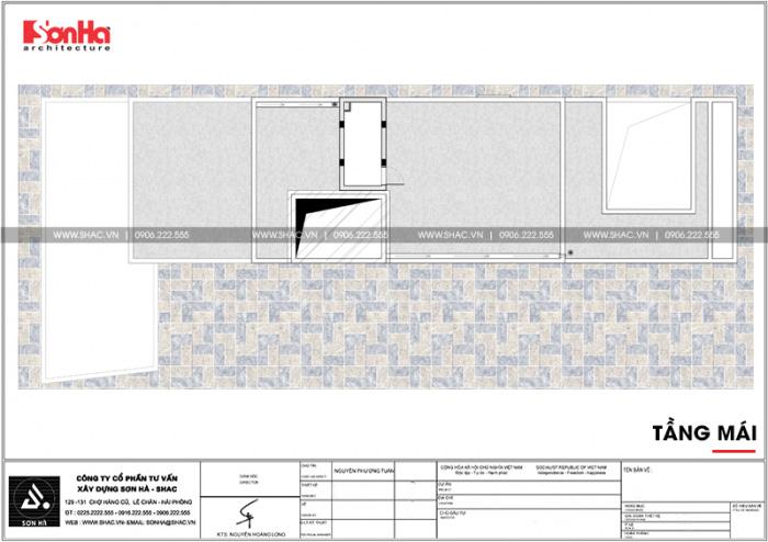 Bản vẽ mặt bằng công năng tầng mái nhà ống hiện đại kết hợp kinh doanh tại Hà Nam